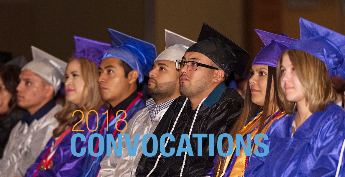 "Photo of Maricopa Community Colleges graduates and the words ""2018 Convocations"" on the image"