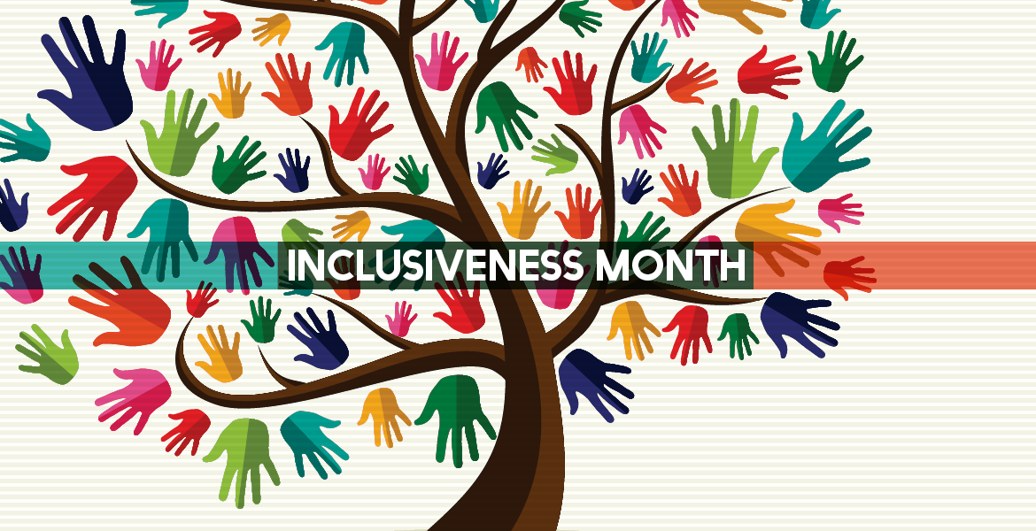 Graphic of a tree with colorful hands to represent inclusiveness month