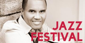 Photo of Johnny Britt with words Jazz Festival on image
