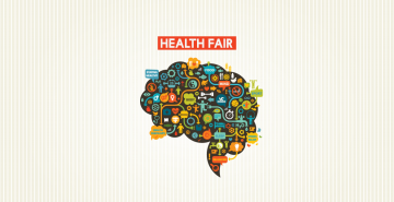 Images of people, sports and animals making up a brain and the words Health Fair