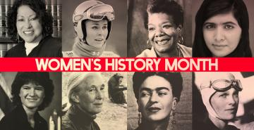 "Photo of famous women with the words ""Women's History Month"""