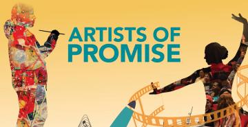 "Event flyer that reads ""Artists of Promise"""