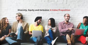 "Photo of Maricopa Community Colleges students with the text ""Diversity, Equity, and Inclusion: A Value Proposition"" overlaid on the image"