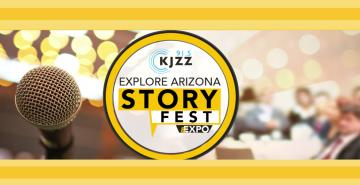 "Photo of microphone with text that reads, ""Explore Arizona Story Fest and Expo"""